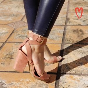 Shoes - DARK BLUSH WRAP AROUND STRAPPY SANDAL